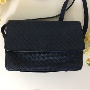 LS Leather School R M T Woven Crossbody Navy Purse